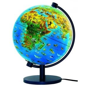 globe terrestre lumineux 28 cm monde animal livret. Black Bedroom Furniture Sets. Home Design Ideas