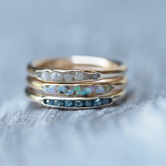 Raw Diamond Ring With Hidden Gems In Gold 15 Pinterest Rings