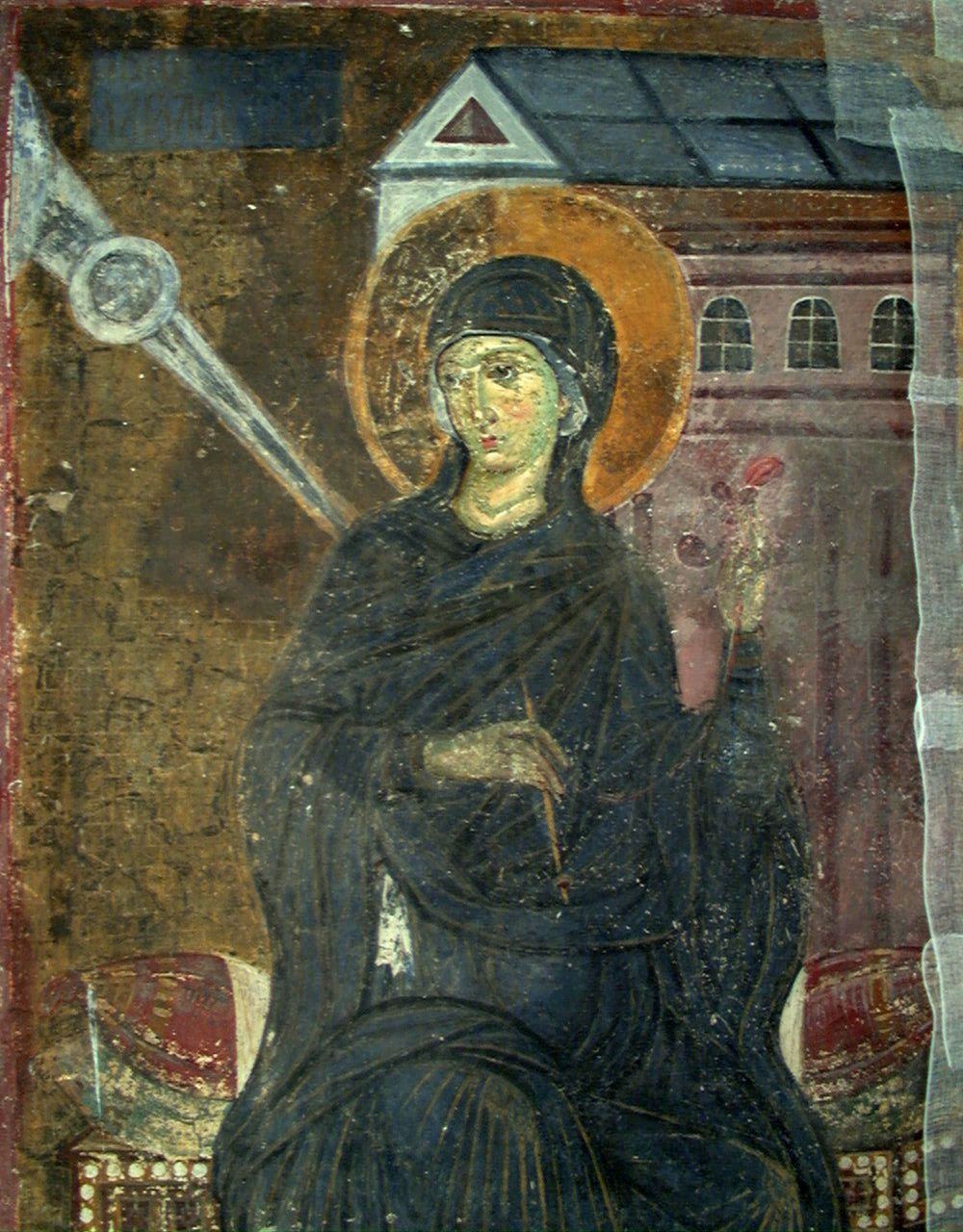 Spinning Virgin Mary, 1235, a fresco in the Serbian monastery of Mileševa.  http://www.monumentaserbica.com/mushushu/story.php?id=11