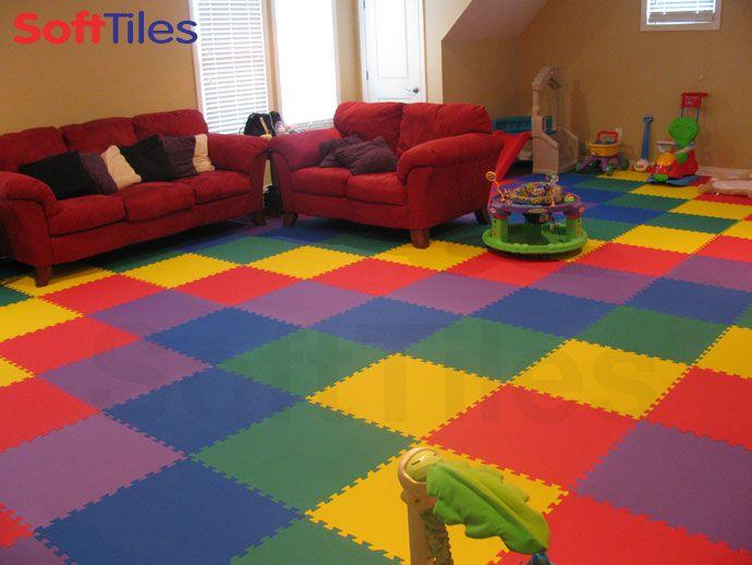 Colorful Playroom Living Room Using SoftTiles Interlocking Foam Mats