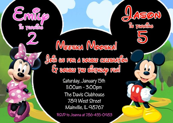 Minnie Mouse Mickey Mouse Double Twins Birthday Party Invitation, Digital or Printed en 2019