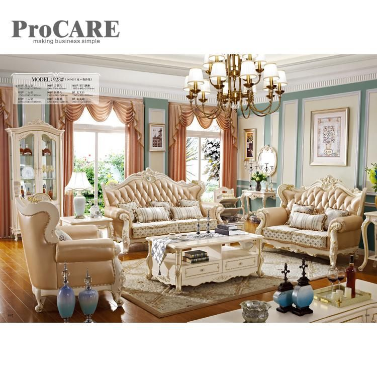 Hot Sale High Quality Leather Fabric Sofa Set Royal Furnitures