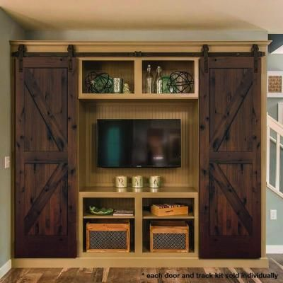 Steves Sons 24 In X 84 In Rustic 2 Panel Stained Knotty Alder Interior Sliding Barn Door Slab With Hardware Bdkka Ctbk 24slb Interior Sliding Barn Doors Interior Barn Doors Basement Guest Rooms