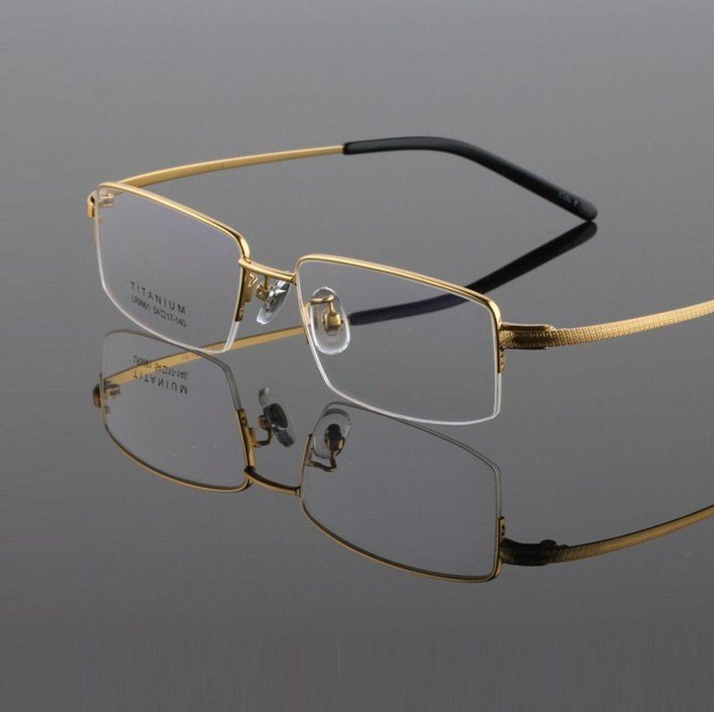 c0122fd7c8 54-17-149 New fashion pure titanium ultra light frame half frame semi-rimless  eyeglasses frame 9961 men s glasses oculos de grau