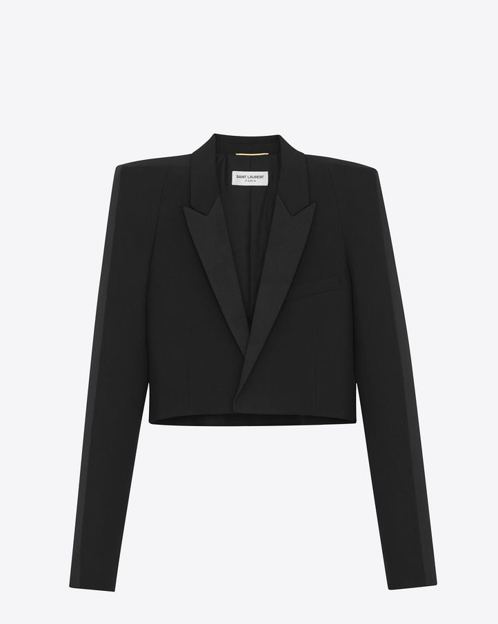 dbf000e4ad SAINT LAURENT WINTER 17 SHORT JACKET WITH SQUARE-CUT SHOULDERS IN ...