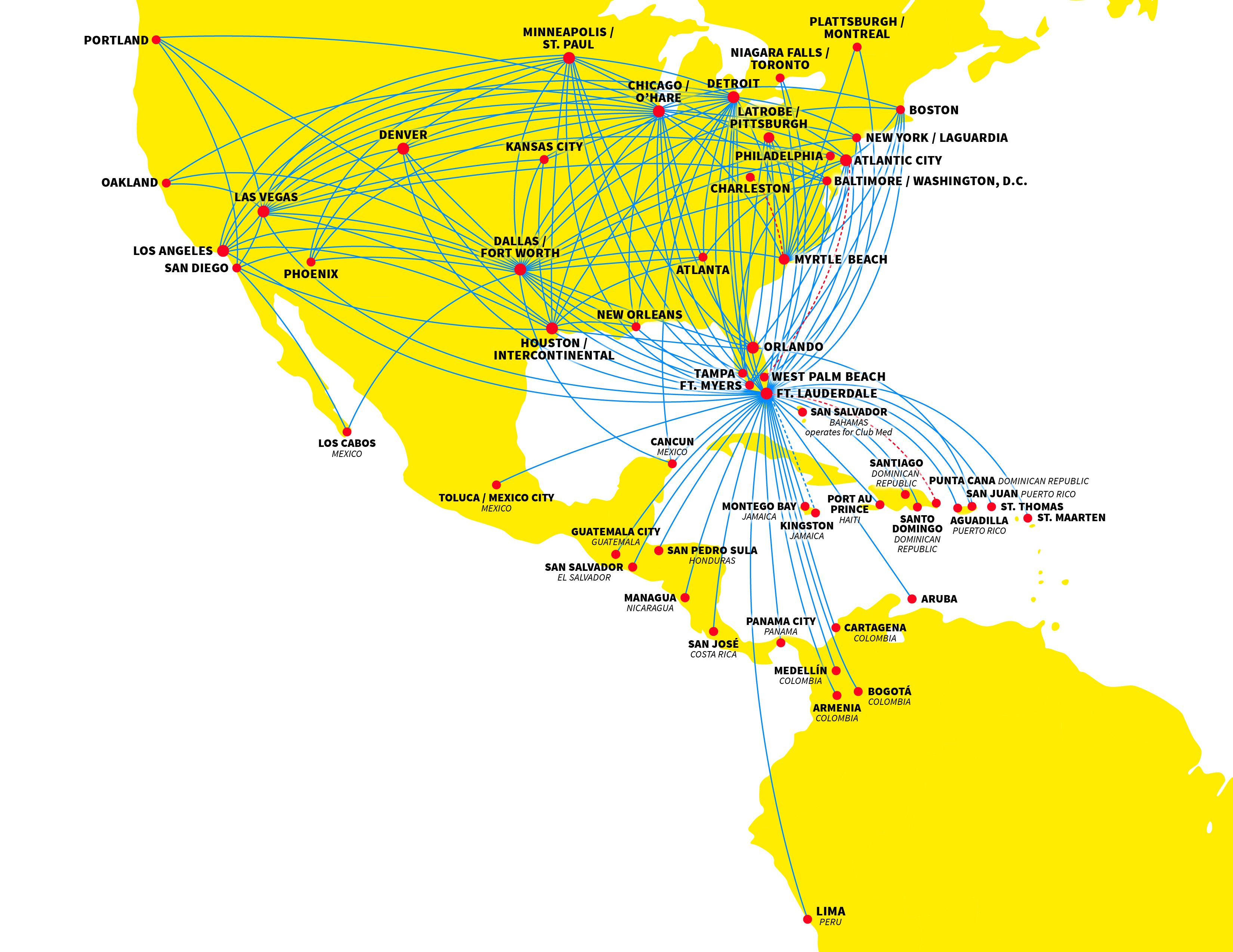 Spirit Airlines Route Map | Spirit airlines, Map, Route map