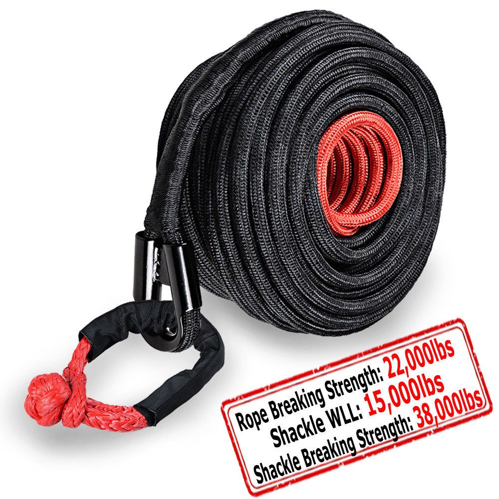 85ft 3 8 Synthetic Winch Rope 20500lbs Red 1 2 Soft Shackle Wll 15000lbs Synthetic Winch Rope Winch Rope Winch