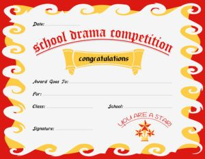 School Drama Competition Award Certificate Template For Ms Word