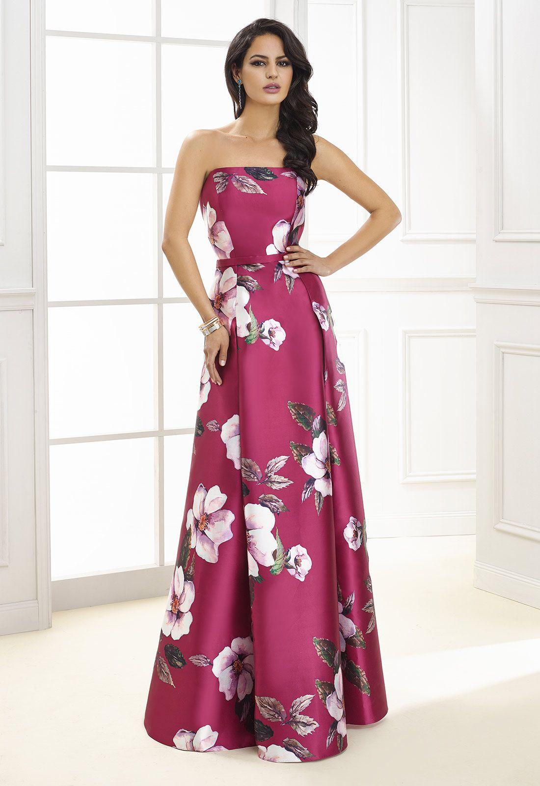 Vestido largo de fiesta con escote palabra de honor y falda de ...