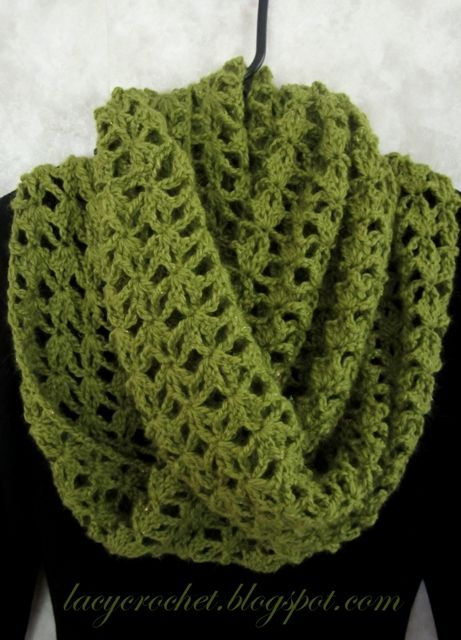 This Lacy Infinity Scarf uses a shell stitch to make a lovely crochet infinity scarf that drapes beautifully.