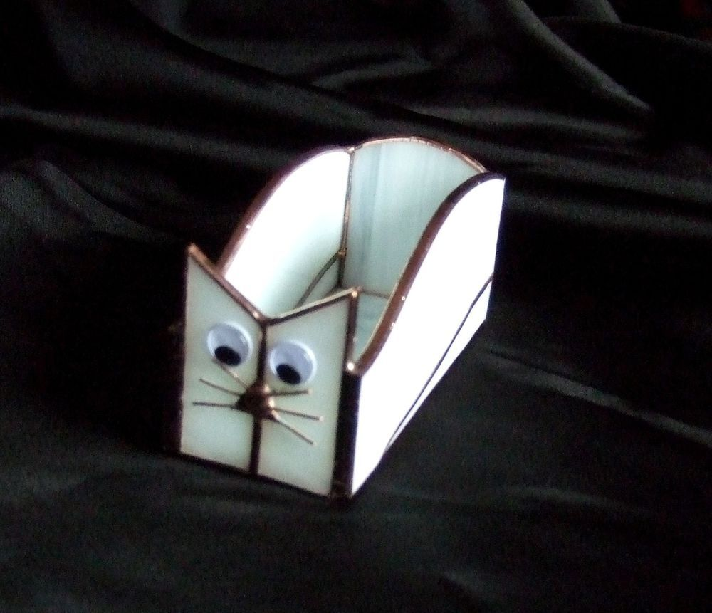 Handmade Stained Glass BOX (Business Card Holder) CAT (BXC34 ...