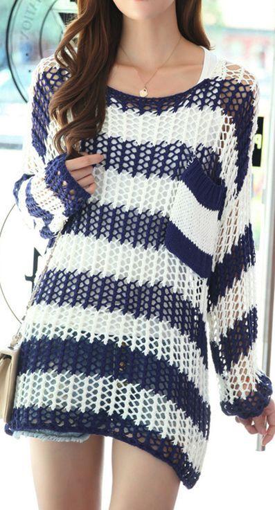 Stripe Crochet Sweater | Cute outfits | Pinterest | Tejido, Ponchos ...