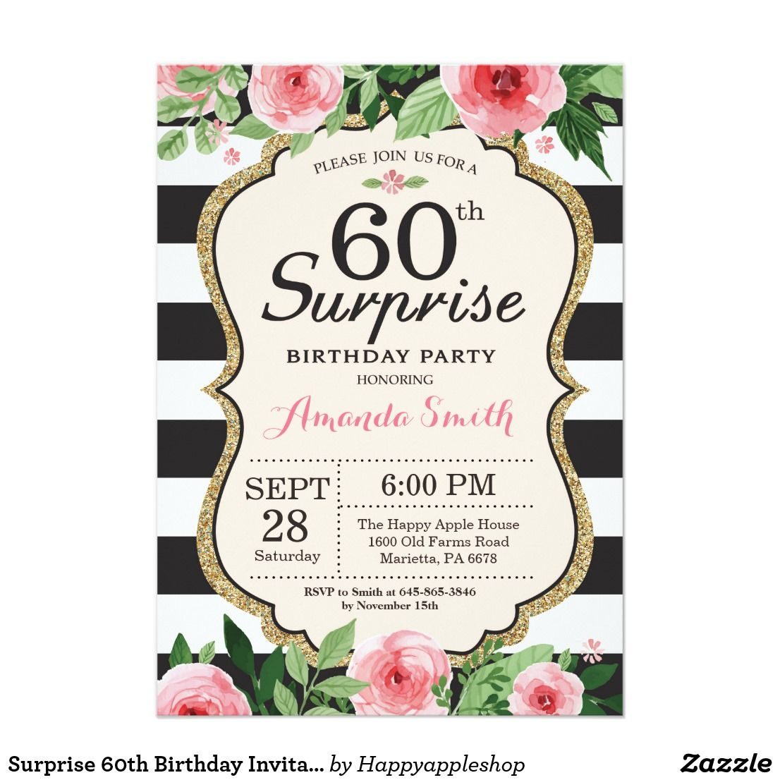 60th Birthday Invitation 60th Birthday Party Invitation 60th Etsy In 2021 60th Birthday Party Invitations 60th Birthday Invitations Party Invite Template