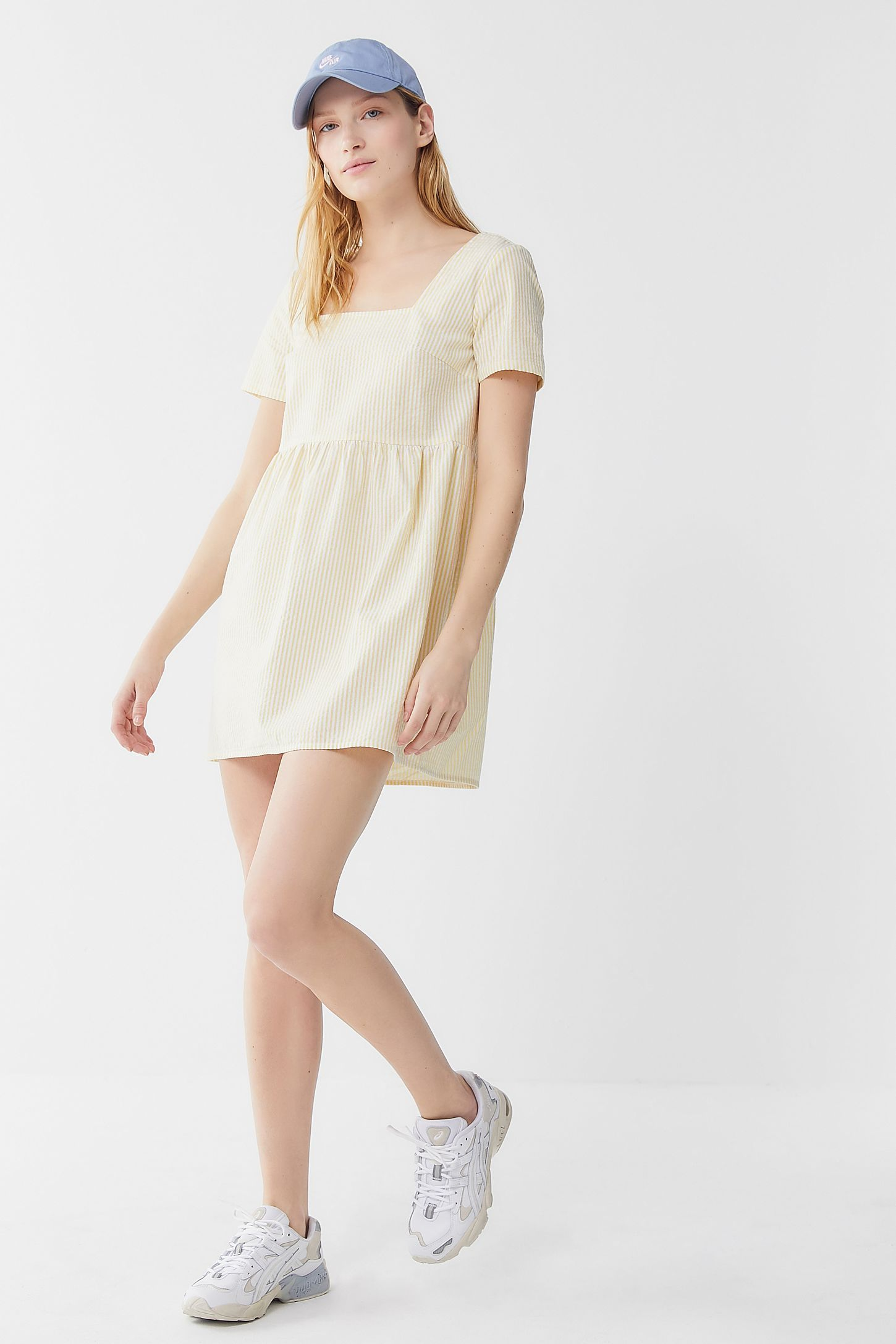 cbad7bd9854a4 Urban Renewal Remnants Striped Seersucker Babydoll Dress | Urban Outfitters