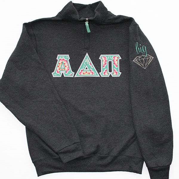 14 zip greek letter applique sweatshirt with big or little diamond on sleeve by