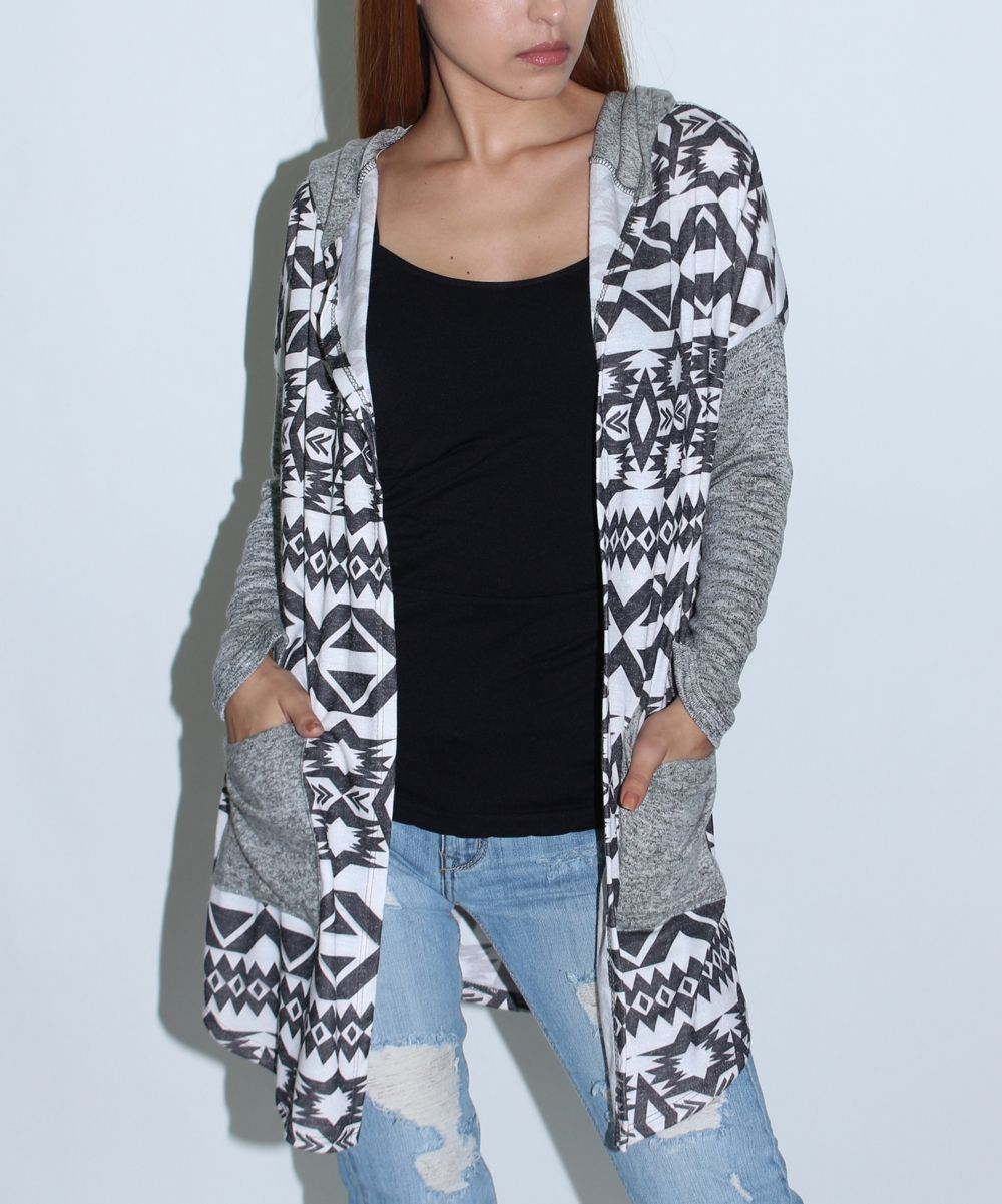 Black & White Geometric Hooded Cardigan | Products | Pinterest ...