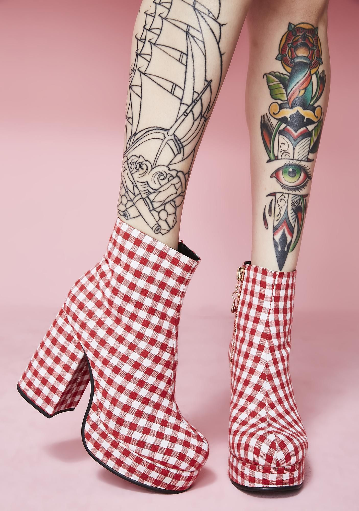 4d1cc95bf5dfc9 Sugar Thrillz Swt Like Cherry Pie Gingham Boots