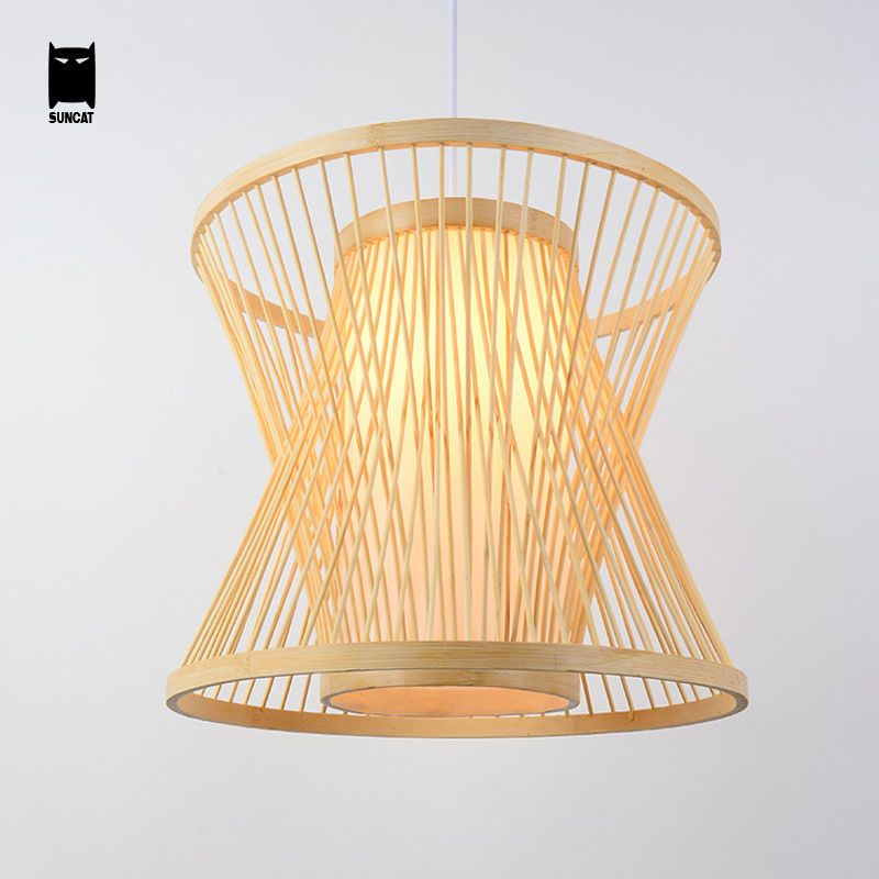 Bamboo Wicker Rattan Cage Shade Pendant Light Fixture Asian Hanging Ceiling Lamp