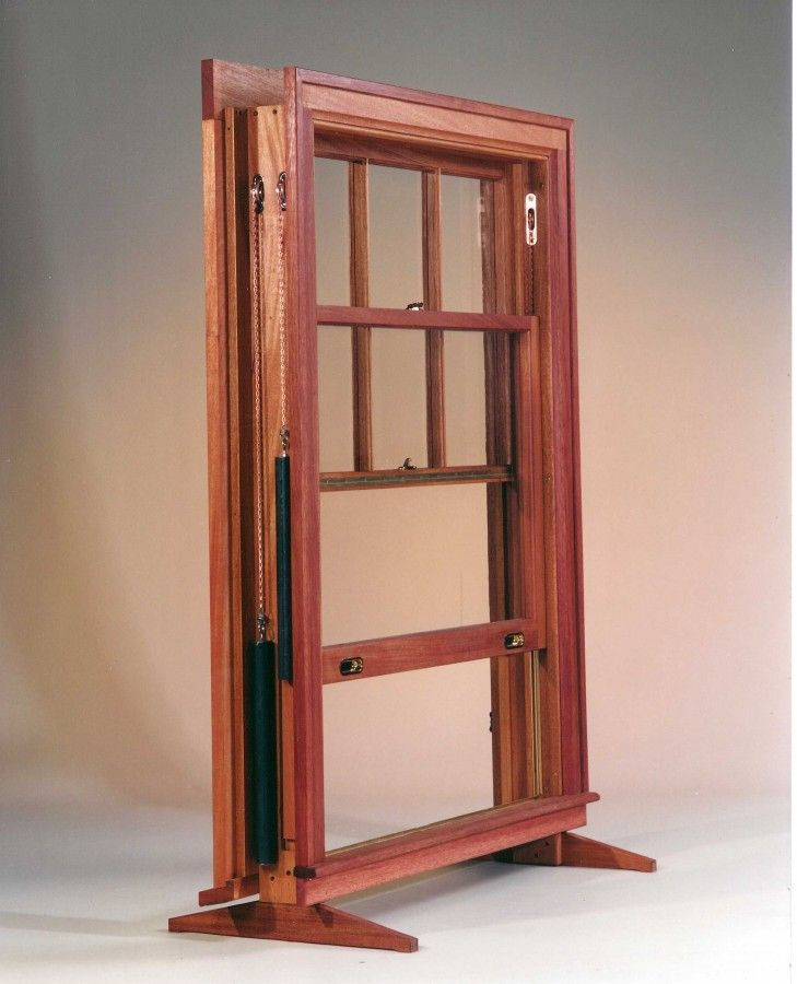 Custom double hung window in mahogany true divided lights for Custom design windows