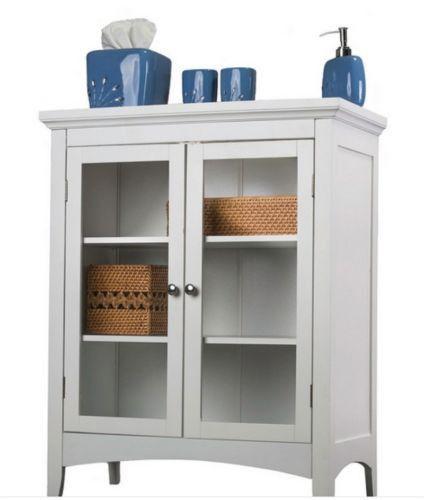 Traditional Two-Door Floor Cabinet Bathroom Furniture White Finish ...