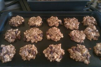 Made these and they were super easy and delicious!    Breakfast cookies - 3 mashed bananas (ripe), 1/3 cup apple sauce, 2 cups uncooked quick-cooking oats, 1/4 cup skim milk, 1/2 cup raisins, 1 tsp vanilla, 1 tsp cinnamon and 1 tbsp sweetener. Preheat oven to 350 degrees. Mix all ingredients in a bowl really well. Let this mixture stand for at least 5 minutes to let the oats become good and hydrated. Heap the dough by teaspoonfuls onto a greased cookie sheet. Bake for 15-20 minutes.
