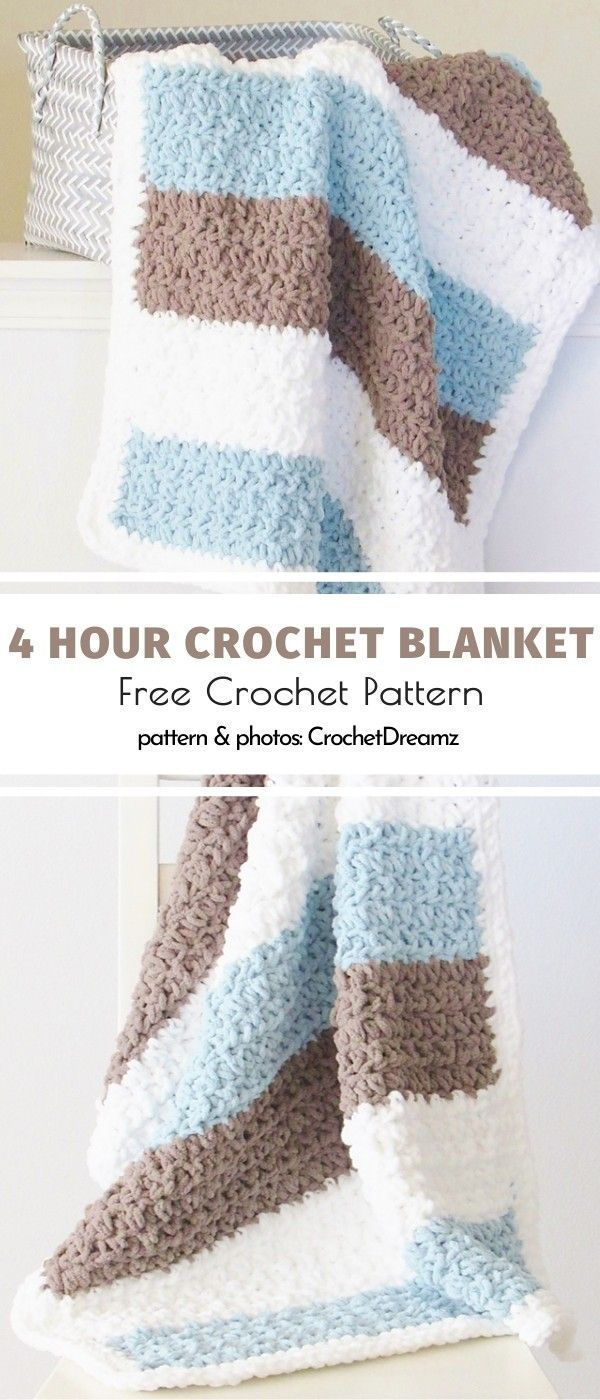 Photo of #afghan crochet patterns free chunky blanket 4 Hour Crochet Blanket Free Crochet…