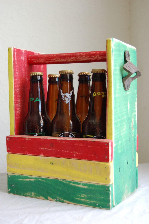 Beer Caddy Six Pack Beer Carrier Bottle Opener 6 Pack Holder Rasta Colors Rastafarian Beer Carrier Beer Caddy Rasta Colors