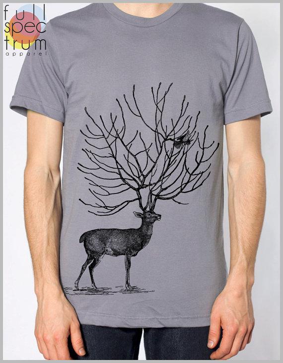 f46e5caca21 Mens Stag Deer Tree Antlers Birds T Shirt American Apparel Tshirt ...