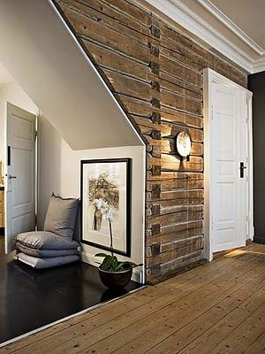 Love The Reuse Of Old Log Cabin Siding Inside As A Feature Wall Wonder If You Could Repurpose Barn Wood Into This Diversion Project