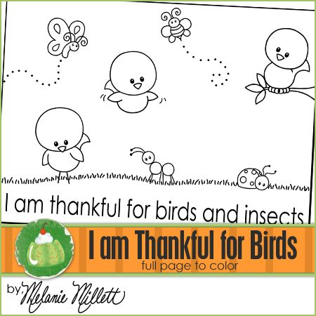 I Am Thankful For Birds And Insects Coloring Page Sunbeam