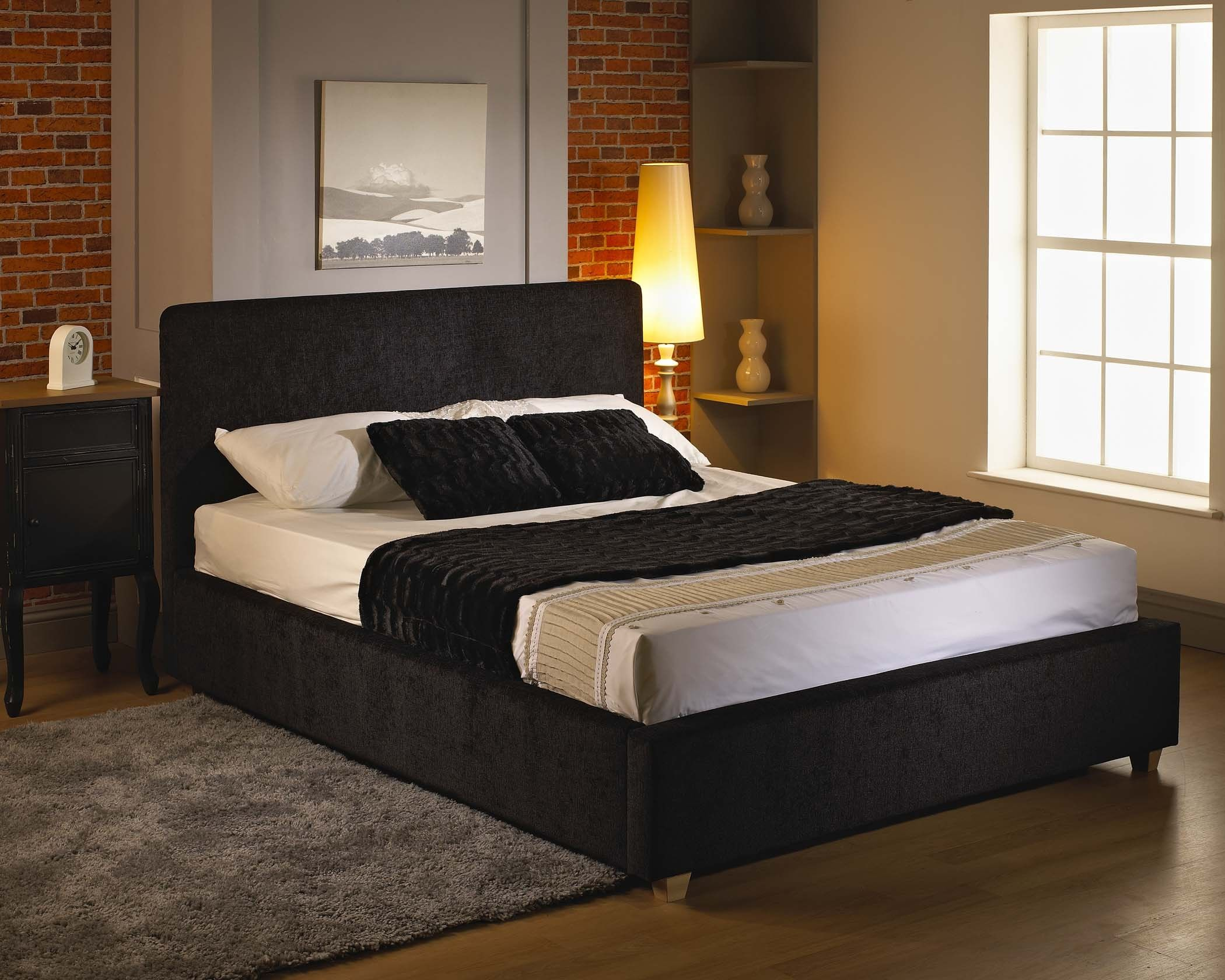 Rio 4ft 6 fabric double bed frame double beds for Divan double bed frame