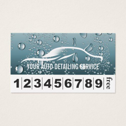 Auto Detailing Car Wash Loyalty Punch Business Card