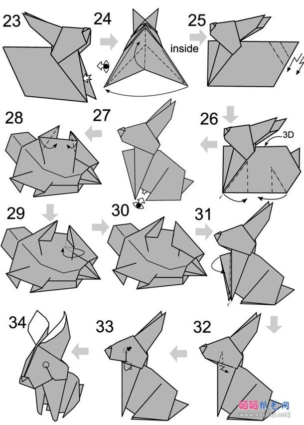 Step instructions how to make origami a rabbit Vector Image   852x610