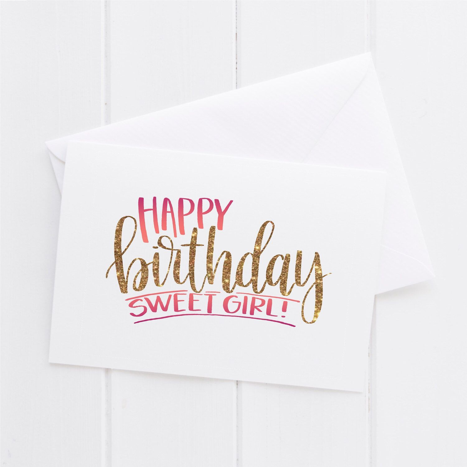 happy birthday sweet girl to you happy birthday hand lettered card print typography gift