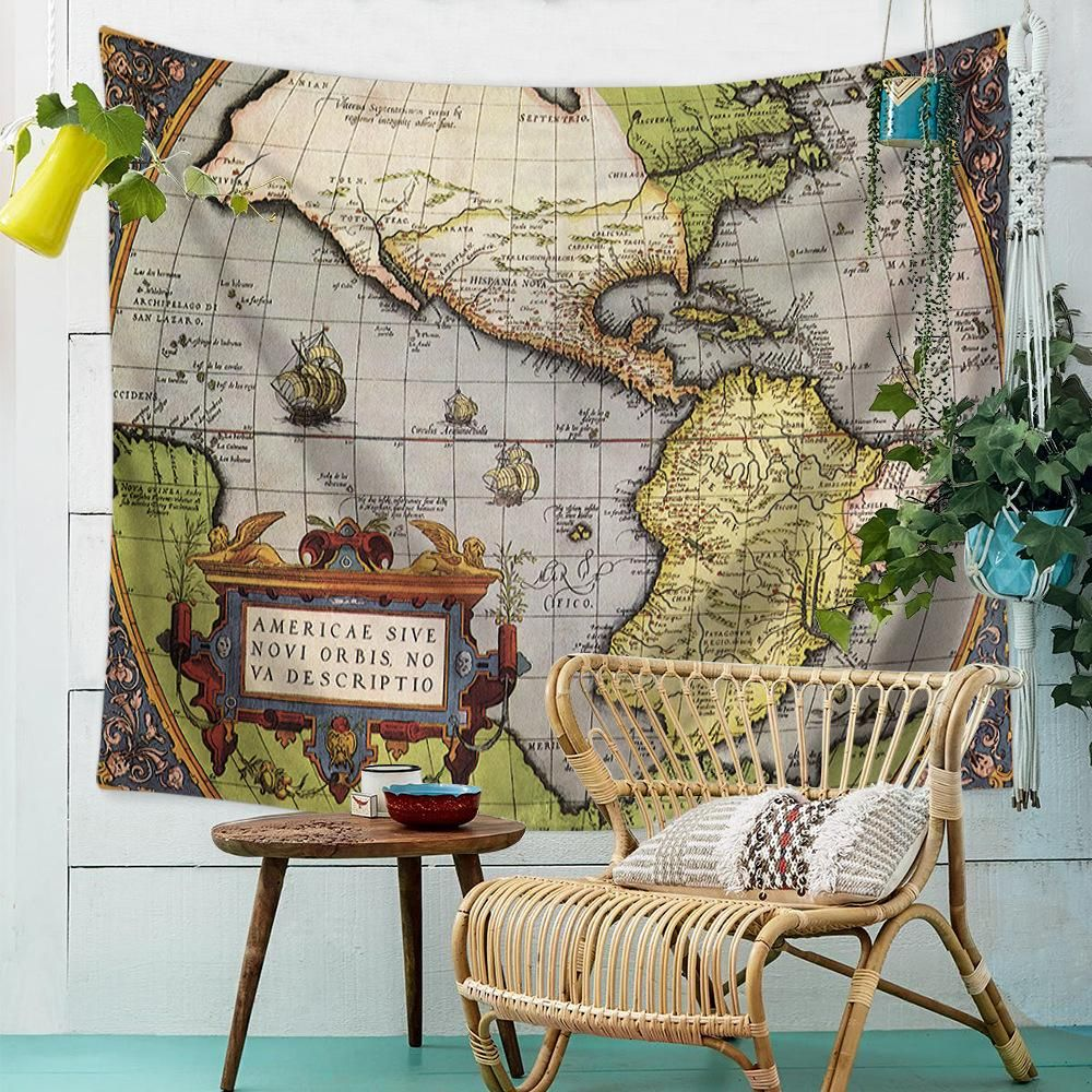 AMERIAE SIVE World Map Wall Tapestry-For Living room,bedroom ...