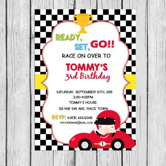 c0a1d3ecbf7067 Race Car invitation Birthday, Racing invitation Party Personalized ...