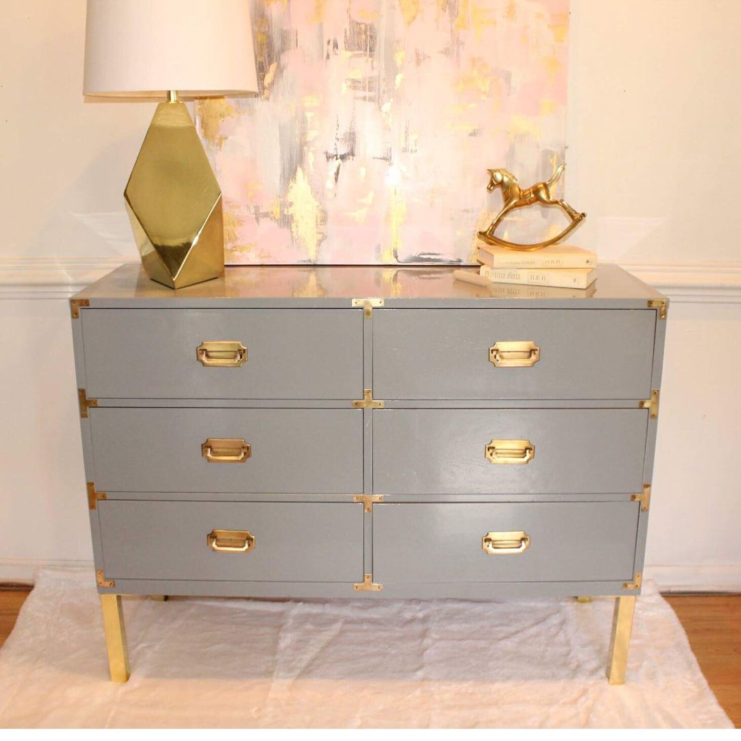 Soft Gray Campaign Dresser With Added Brass Legs Campaign