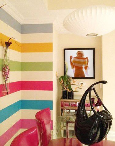 I prefer this as vertical stripes. Great idea for the teenage girl ...