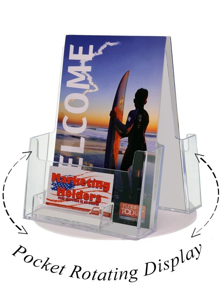 Rotating 2 Bi fold Literature & 2 Business Card Holder Stand ...