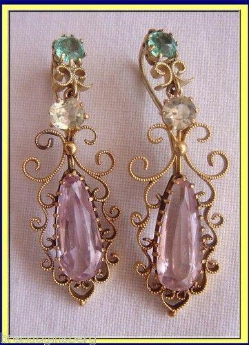 Antique Regency Earrings C1820 Gold Pink Topaz, Emerald (4191) | eBay