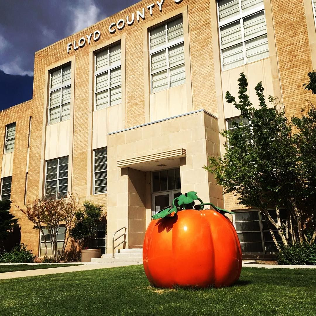 It almost feels like it's always October at the Floyd County Courthouse in Floydada. A large pumpkin out in front of the building attests to Floydada's status as the Pumpkin Capital of the United States. Pumpkins like this one are scattered around the downtown area.⠀ ⠀ #texascourthouses #Texas #pumpkin #fall #halloween