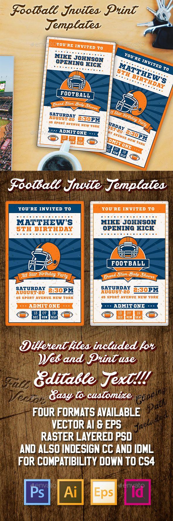 Football Ticket Party Invites   Football Ticket Psd Templates