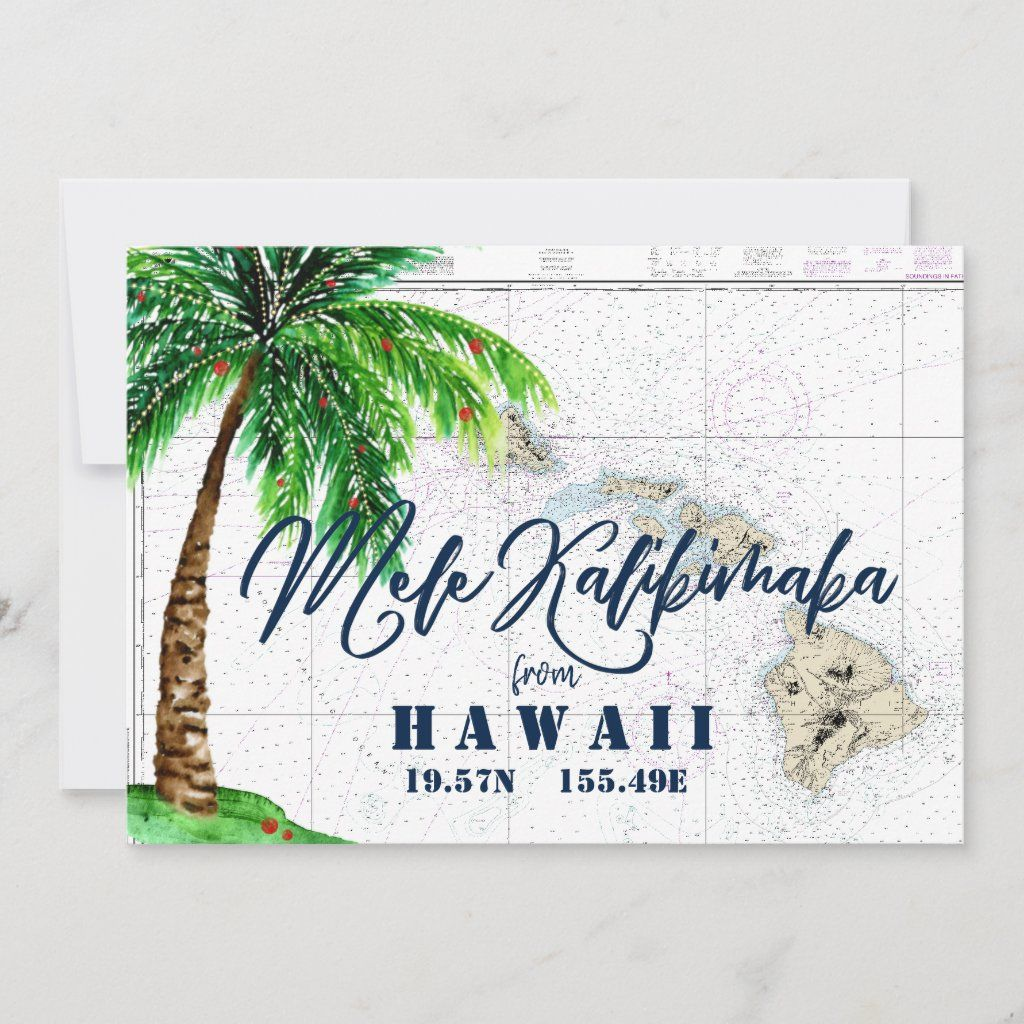Nautical Boutique Co.'s Mele Kalikimaka from Hawaii Christmas card is set on the authentic nautical chart for the Hawaiian Islands. The design features hand-lettered typography for
