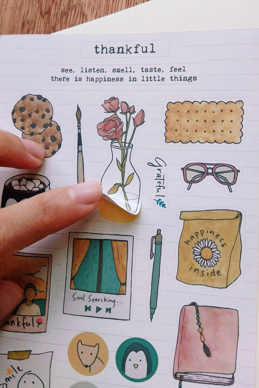 Planner Stickers Plants Coffee Bullet Journal Scrapbook Laptop Stickers Handmade