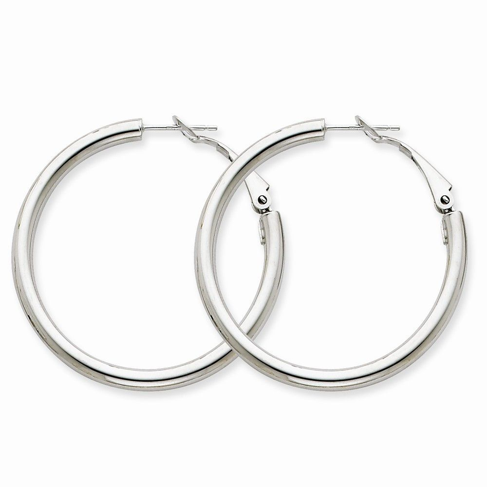 14k White Gold 3x30mm Polished Round Hoop Earrings