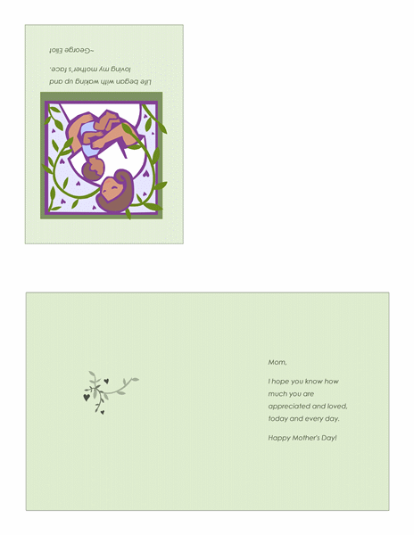 Mother S Day Card With Mother And Baby Quarter Fold Mothers Day Cards Free Certificate Templates Cards