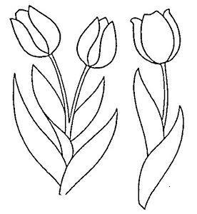 Dibujos Y Plantillas Para Imprimir Dibujos De Flores Para Bordar Tulipanes Para Colorear Tulipanes Dibujo Patrones De Bordado