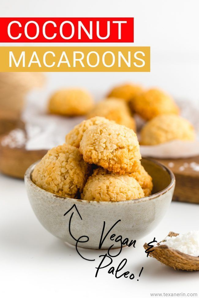 Coconut Macaroons (sorry not the French macaroons) are vegan and paleo! These yummy coconut macaroons are super simple to put together and bake. These are one of the easiest cookie recipes that I have. So grab the recipe and get baking, you won't regret it!