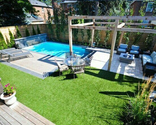 Deck Grass Concrete Small Backyard Pools Backyard Pool Designs