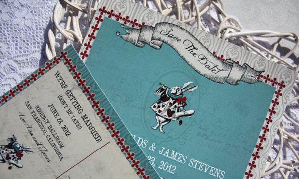 FAB WEDDING FREEBIE: Save the Date Postcard - Vintage Alice in Wonderland Wedding Theme Printable from ConfettiDaydreams.com and http://www.etsy.com/shop/VintageWeddingPress